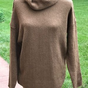 Brown Cowl Neck Knit Sweater